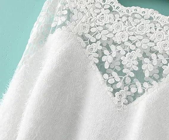 Sheinside femeninos-Jersey con encaje y mohair, color blanco blanco: Amazon.es: Ropa y accesorios