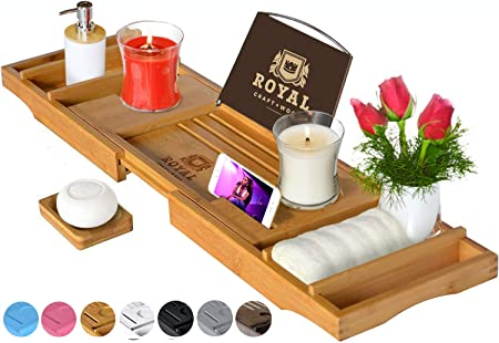 CRAFT WOOD Luxury Bathtub Caddy Tray