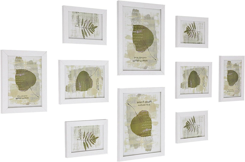 SONGMICS Set de 10 Marcos de Fotos para Pared con Diferentes Tamaños Tableros de MDF Blanco RPF310W