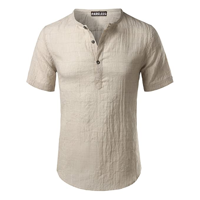 Sonjer Cotton Linen Shirt Men New Short Sleeve Mens Henley Shirt Casual Slim Fit Plaid Mens