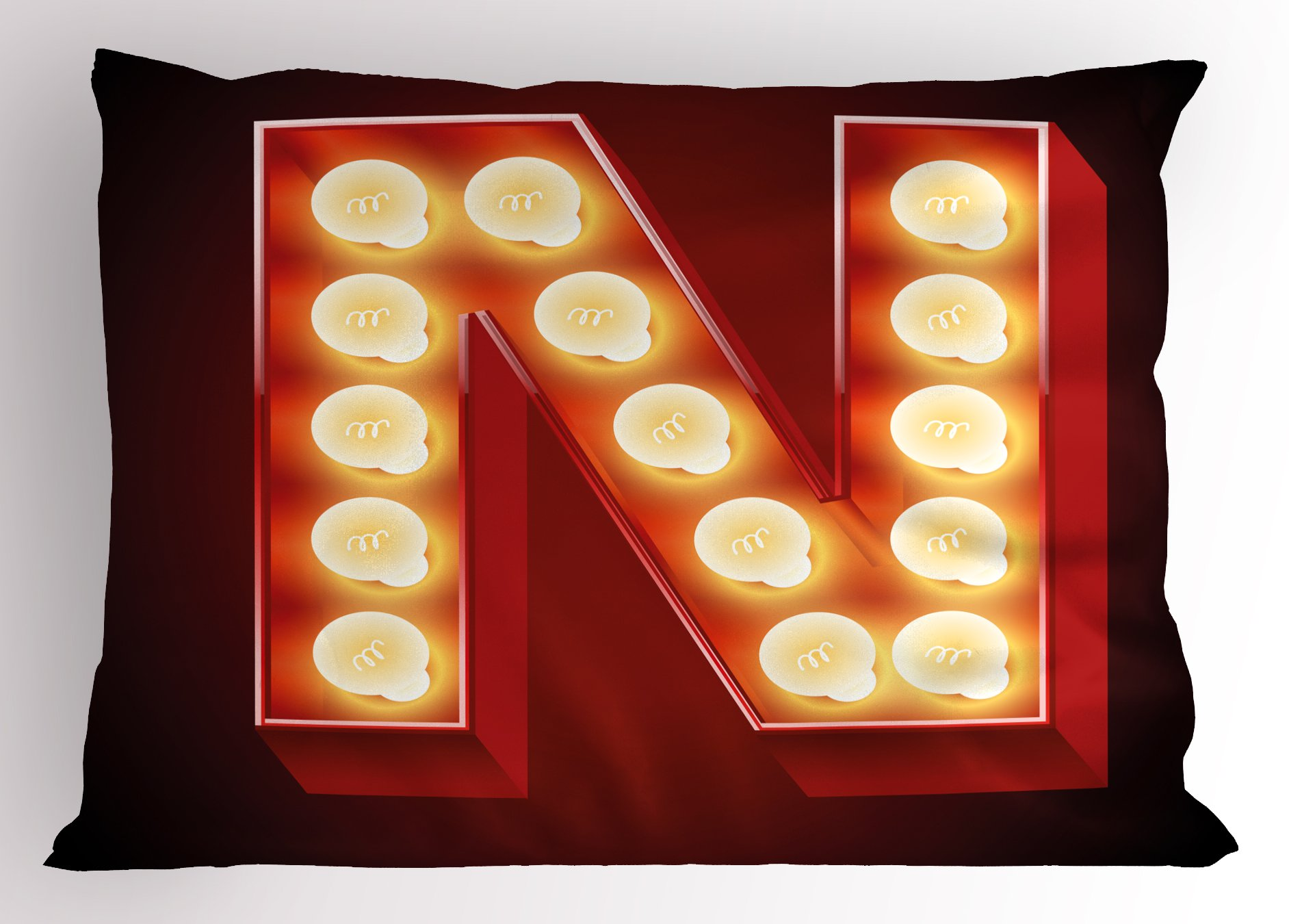 Ambesonne Letter N Pillow Sham, Old Fashioned Movie Theater Carnival Casino Entertainment Night Life, Decorative Standard Queen Size Printed Pillowcase, 30 X 20 inches, Vermilion Yellow Black