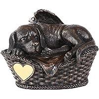 Pet Memorial Angel Dog Sleeping In Basket Cremation Urn Bronze Finish Bottom Load 45…