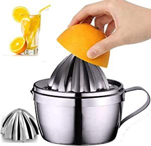 Stainless Steel Lemon Squeezer Manual Citrus Juicer with Storage Cup 400ml 13oz with 2 Reamer Parts, Citrus Press DIY Juice Tool for Lemons Limes and Oranges in Kitchen