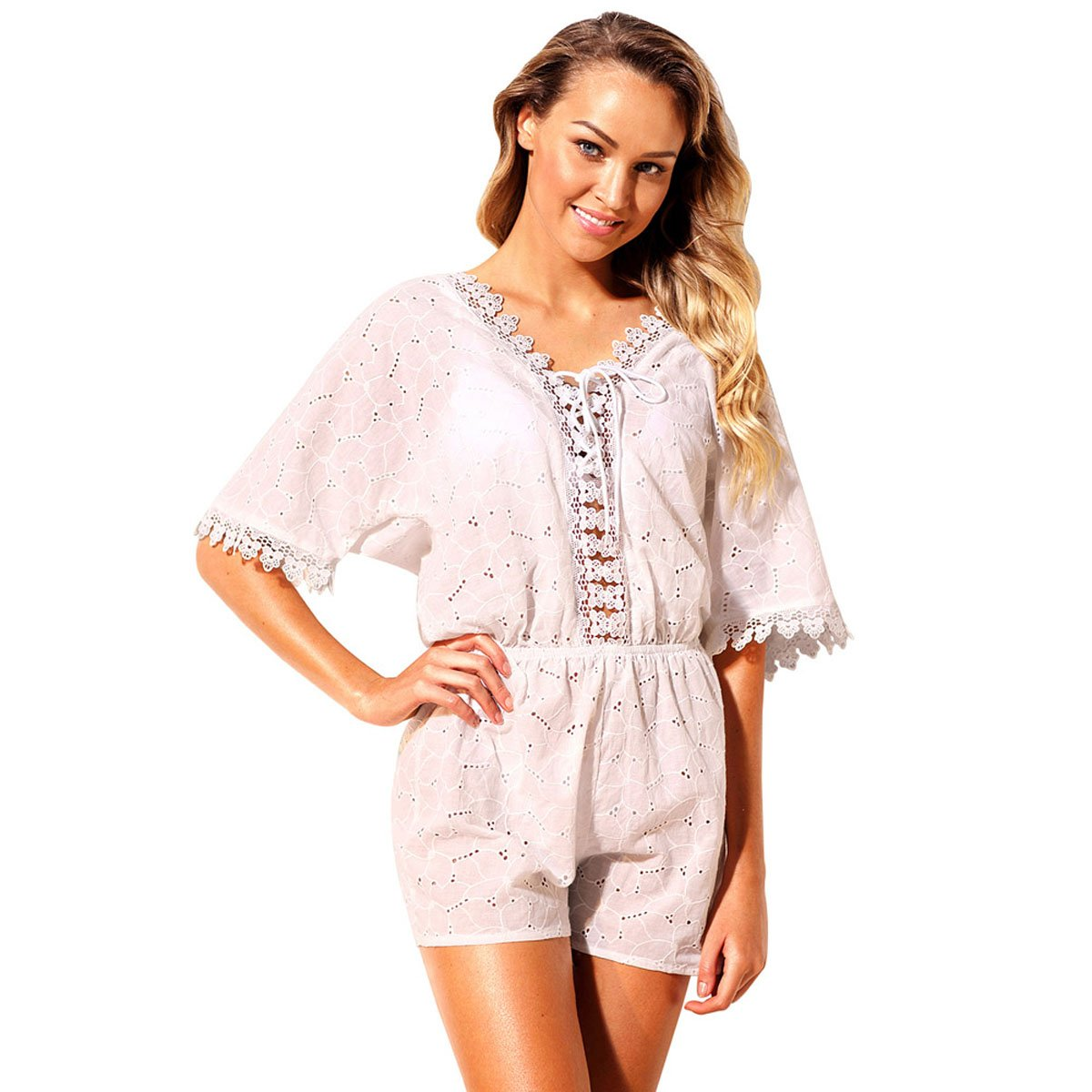 LIAN Beach Dresses Vacation Vneck Sleeve Embroidery Lace Waist Elastic Beach Jumpsuit Mother's Day Gift ( Size   S )