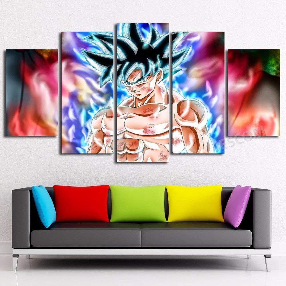 JESC 5 Panels Canvas Painting Anime New Form Wall Art Decorative Pictures Home Decor Wall Framework (40x60cmx2,40x80cmx2,40x100cmx1) …