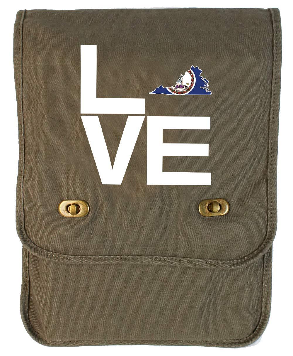 Tenacitee LOVE Virginia Maroon Brushed Canvas Messenger Bag