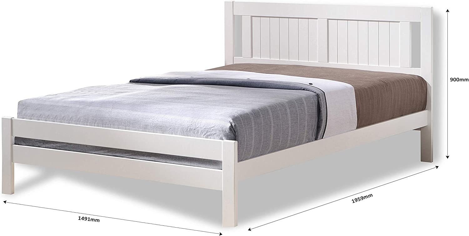 Humza Amani White Glory Bed - Single 3FT, Small Double 4FT & Double 4FT6 - With Visco Therapy Spring Memory Deluxe Mattress (Double - 4FT6)