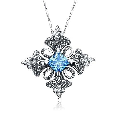 Amazon merthus antique created blue topaz irish celtic cross merthus antique created blue topaz irish celtic cross pendant necklace for women18quot aloadofball Image collections