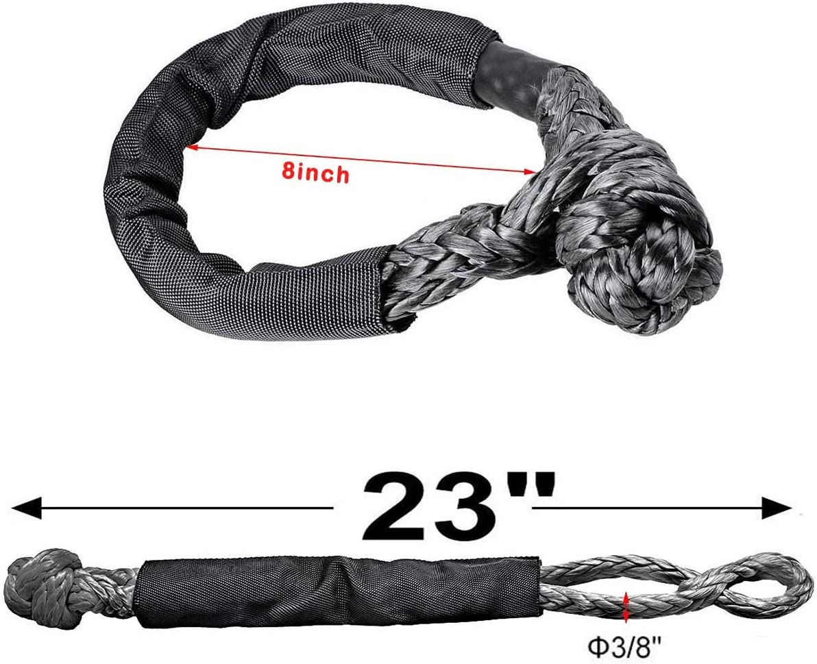 Black 1pcs Synthetic Soft Rope Shackles 3//8 x 24 45000LBs for Boating ATV UTV SUV 4X4 Jeep Winch Ropes
