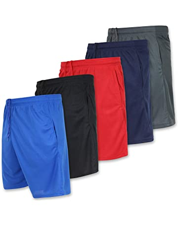 28c7ab10f0 Real Essentials Men s Active Athletic Performance Shorts with Pockets - 5  Pack