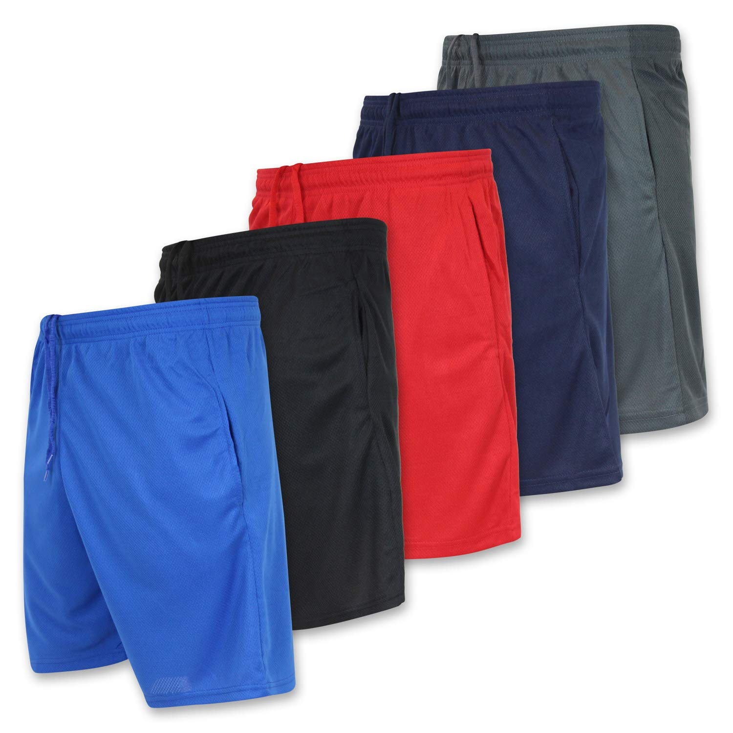 Men's Active Athletic Basketball Essentials Performance Gym Workout Shorts with Pockets - Set 7-5 Pack, M