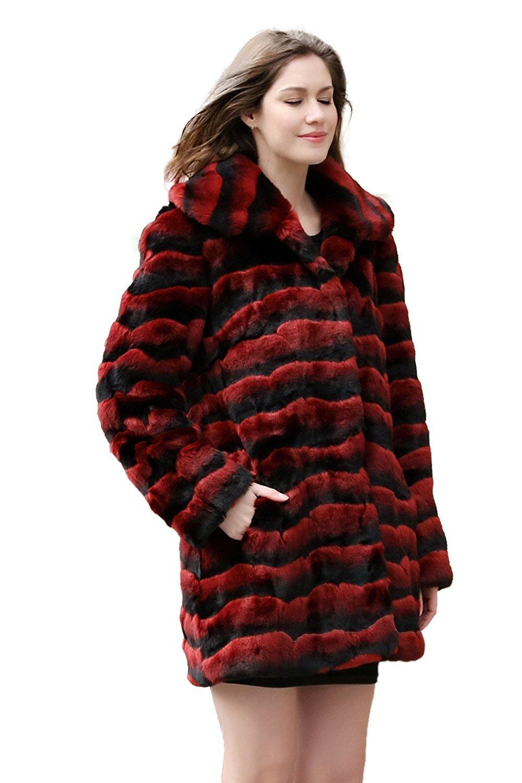 Adelaqueen Clearance Women's Red & Black Wave Stripe Fabulous Chinchilla Faux Fur Coat Size M