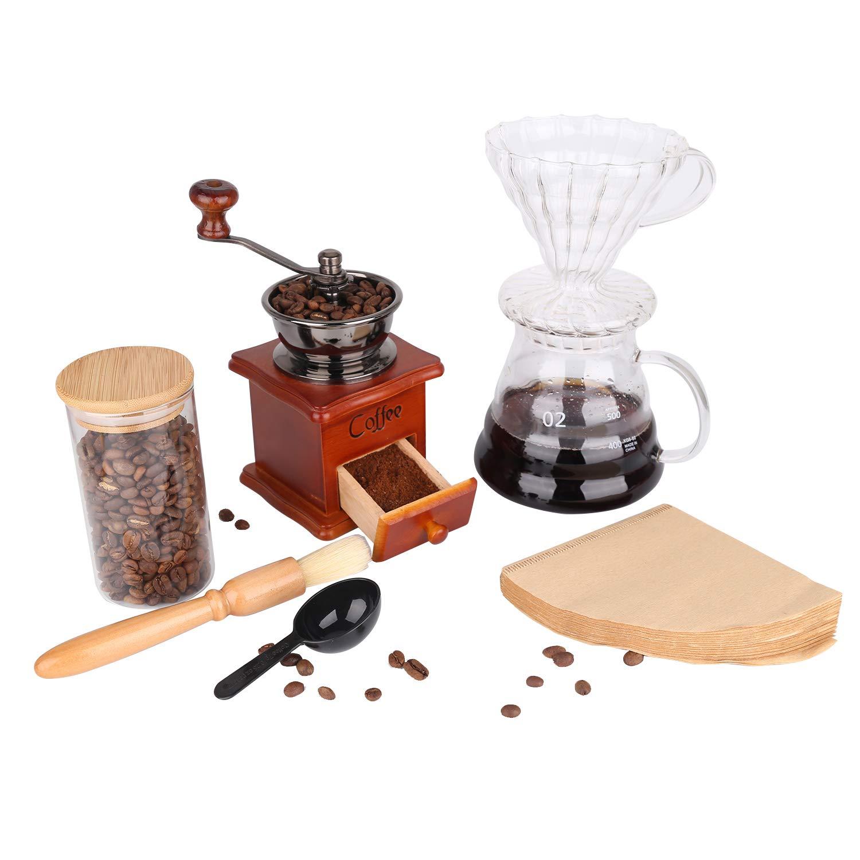 Drip Coffee Maker Set with Vintage Wooden Grinder,Pour Over Filter,Coffee Server,Flilter Paper,Bean Jar.HT Manual Coffee Set