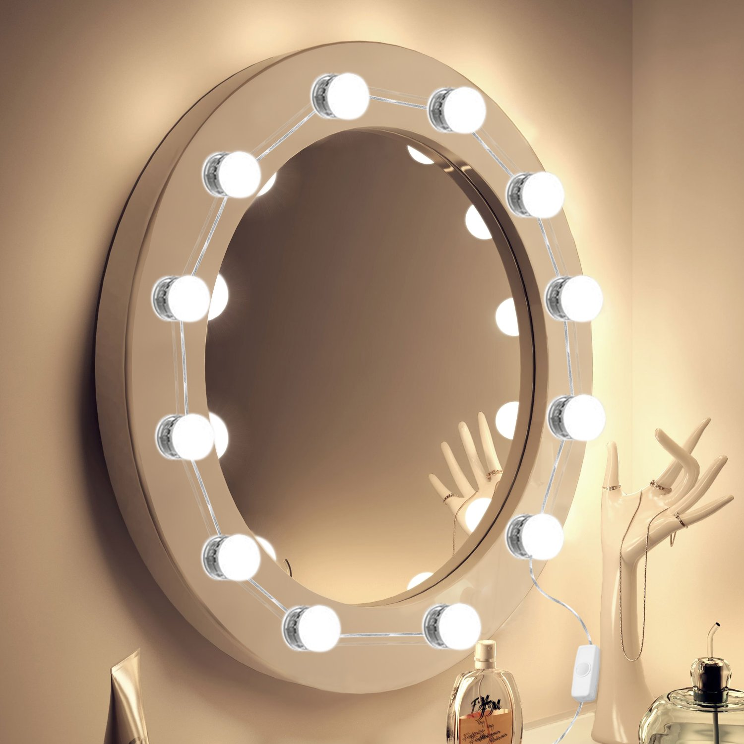 Vanity Mirror Lights 2018 UPGRADED 7000K Hollywood Style LED Makeup Mirror Lights Kit 12 Hidden Adjustable Length Makeup Lamps Lighting Fixture Strip with Dimmable Light Bulbs (Mirror Not Included)