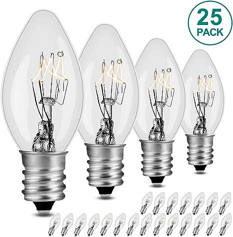 Box of 4 bulbs Clear 7-Watt Night Light Bulbs 120v,Candelabra Base E12 C7