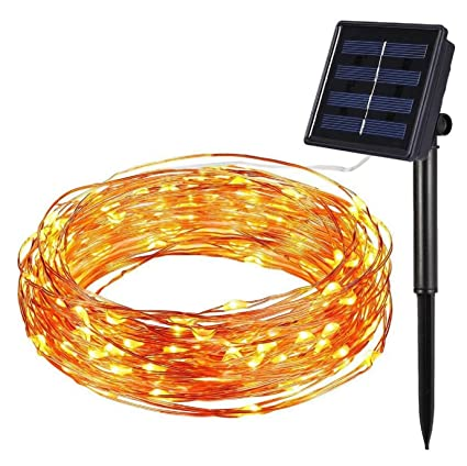 solar powered dc powered string lights 100 led copper wire lights waterproof starry string