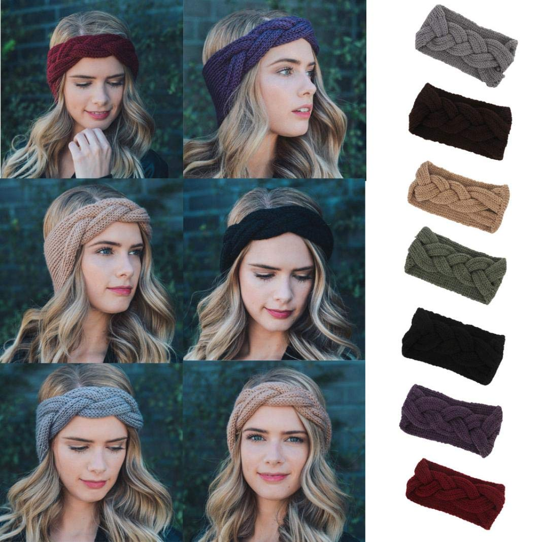Appoi Headband Headwrap Women Wool Knotted Knitted Headbands Solid Color Elastic Stretchable Winter Warm Head Wrap Wide Non Slip Fashion Hair Accessories (Red) by Appoi Headband Headwrap (Image #5)