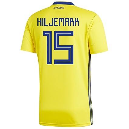 57431a3712a adidas HILJERMARK #15 Sweden Home Men's Soccer Jersey World Cup Russia 2018  ...