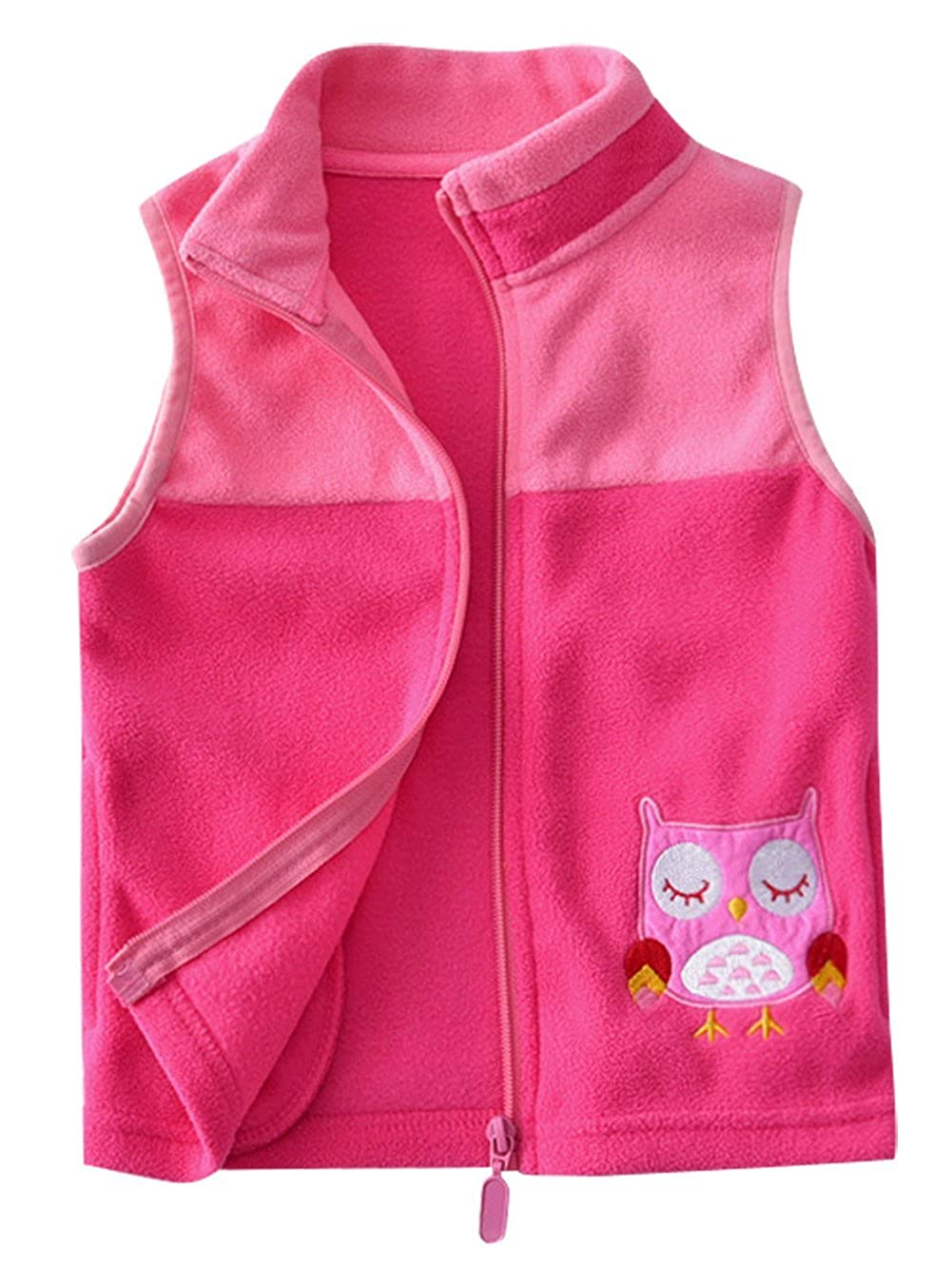 Happy Cherry Girls Cartoon Vest Polar Fleece Soft Winter Warm Zipper Up Pocket Waistcoat