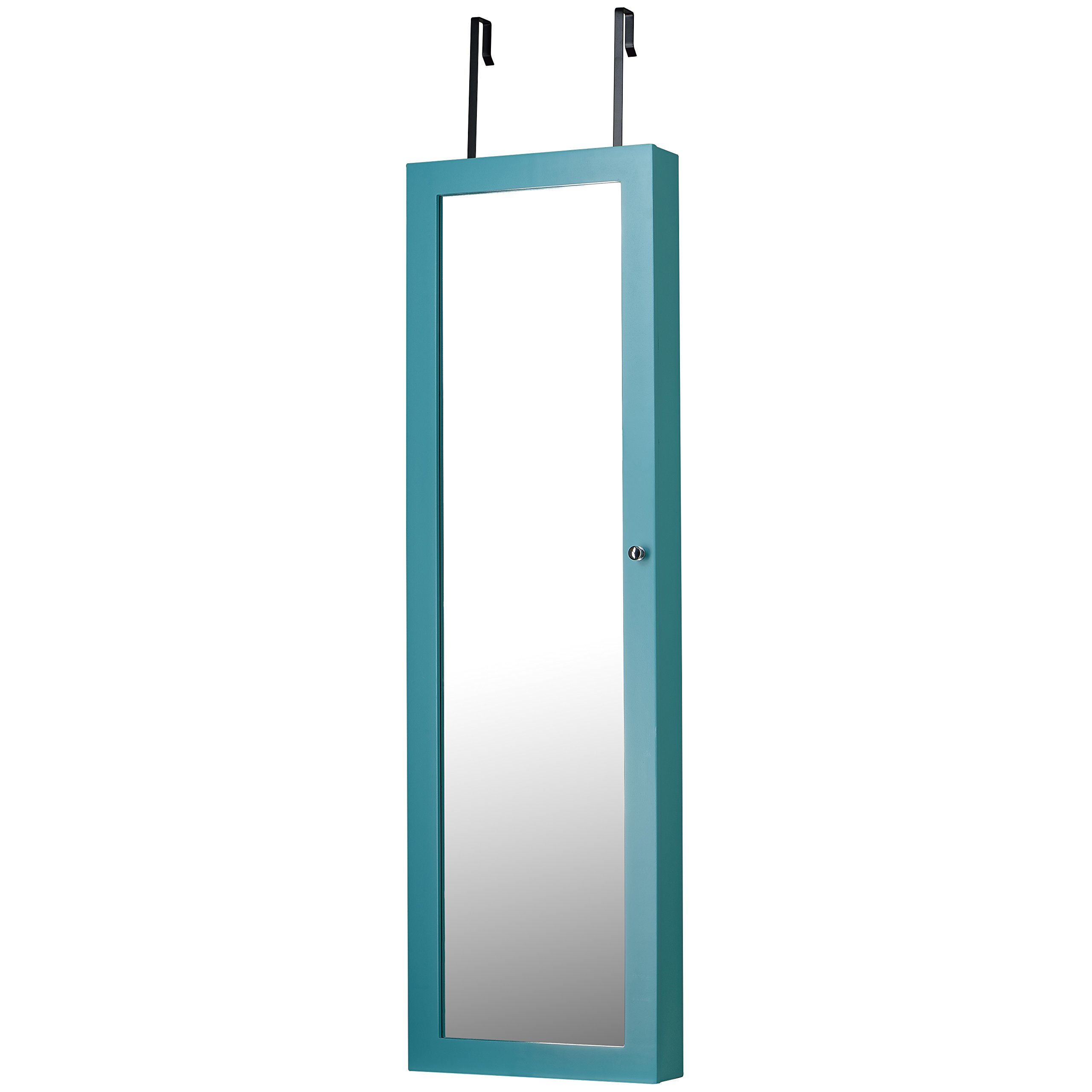 Mirrored Jewelry Armoire, Turquoise