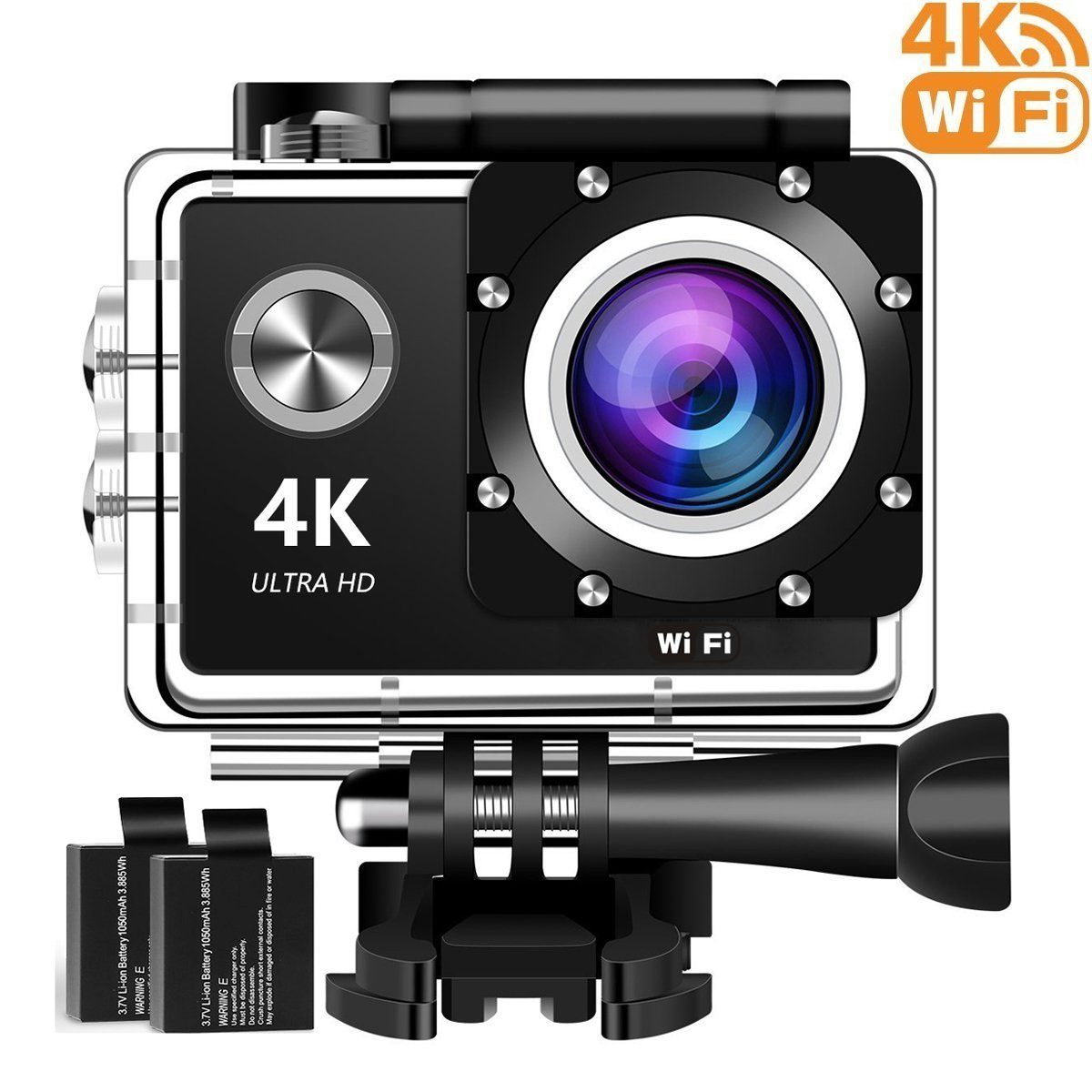4K Action Camera, 16MP WiFi Ultra HD Underwater Waterproof 30M Sports Camcorder with 170° Degree Wide Angle Lens, 2 Rechargeable Batteries and Mounting Accessories Kits 8602