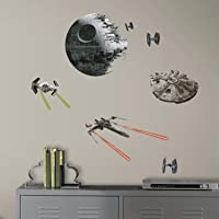 RoomMates RMK3012SCS Star Wars Classic Spaceships Peel and Stick Wall Decals, 20 Count