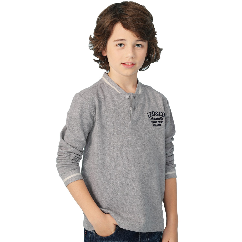 Leo&Lily Big boys'Kids Long Sleeves Fine Pique Cardigan T-Shirt Sweatshirt (Gray,14)