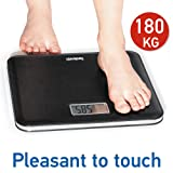 Tatkraft Style Digital Body Scale 180Kg/400Lbs Big LCD Screen Leather Look Pleasant to Touch Black
