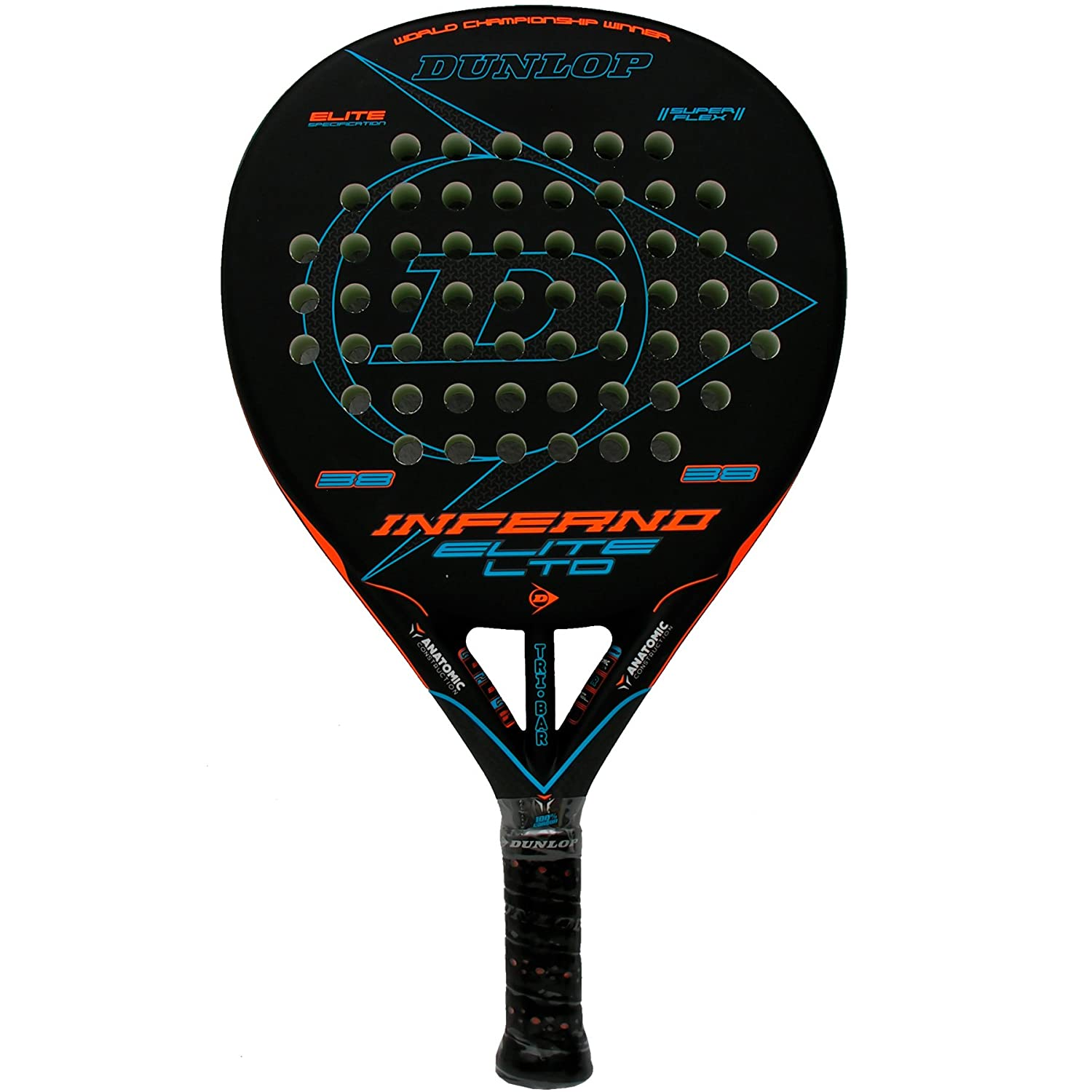 Pala de pádel Dunlop Inferno Elite LTD Orange - Blue: Amazon.es ...