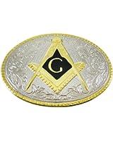 Chrome Enamel Freemason Symbol Belt Buckle Masonic
