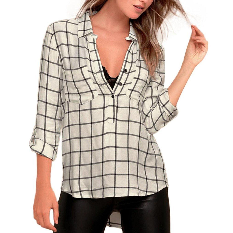 Fulltime(TM) Women Turn-down Collar Long Sleeve Plaid Blouse MJJ70901293