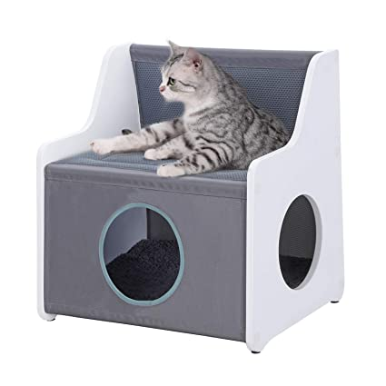 Feandrea Cat Tree, Cat House With Large Lying Surface, Robust Cat Condo Made Of Oxford Fabric, Scratch Proof Cat Hiding Place White And Grey Upcb01 Wg by Feandrea