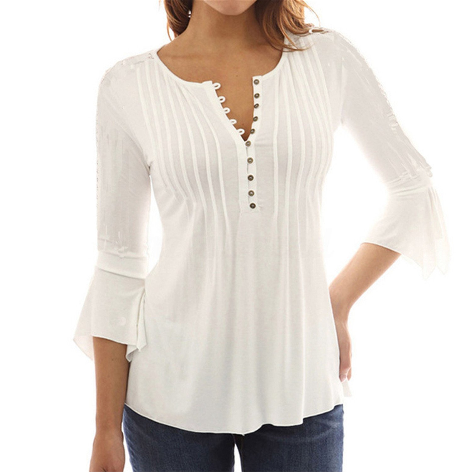FJ-Direct Button Chemise Cotton Women Long Sleeve Women Blusas Camisas Shirts at Amazon Womens Clothing store: