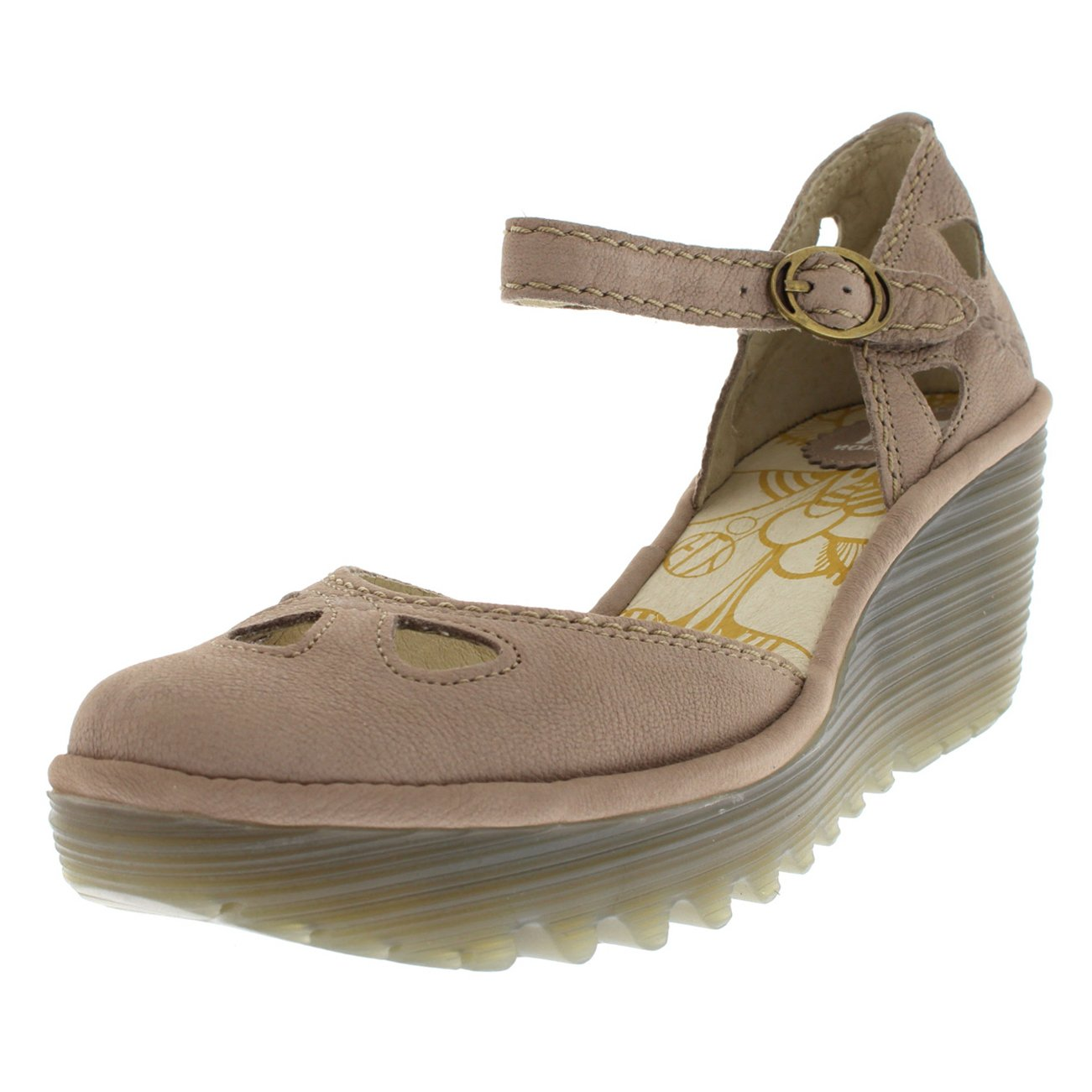 FLY London Womens Yuna Cupido Leather Sandals Summer Shoes Wedge Heel - Concrete - 6