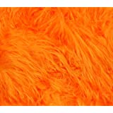 """Faux Fur Fabric Long Pile Gorilla ORANGE / 60"""" Wide / Sold by the yard"""
