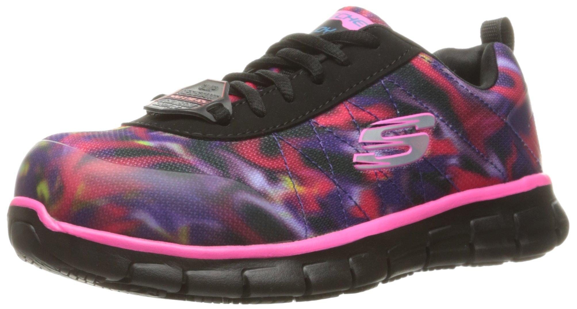 Skechers Work Women's Synergy Arrey Shoe, Black/Pink/Multi, 9 M US