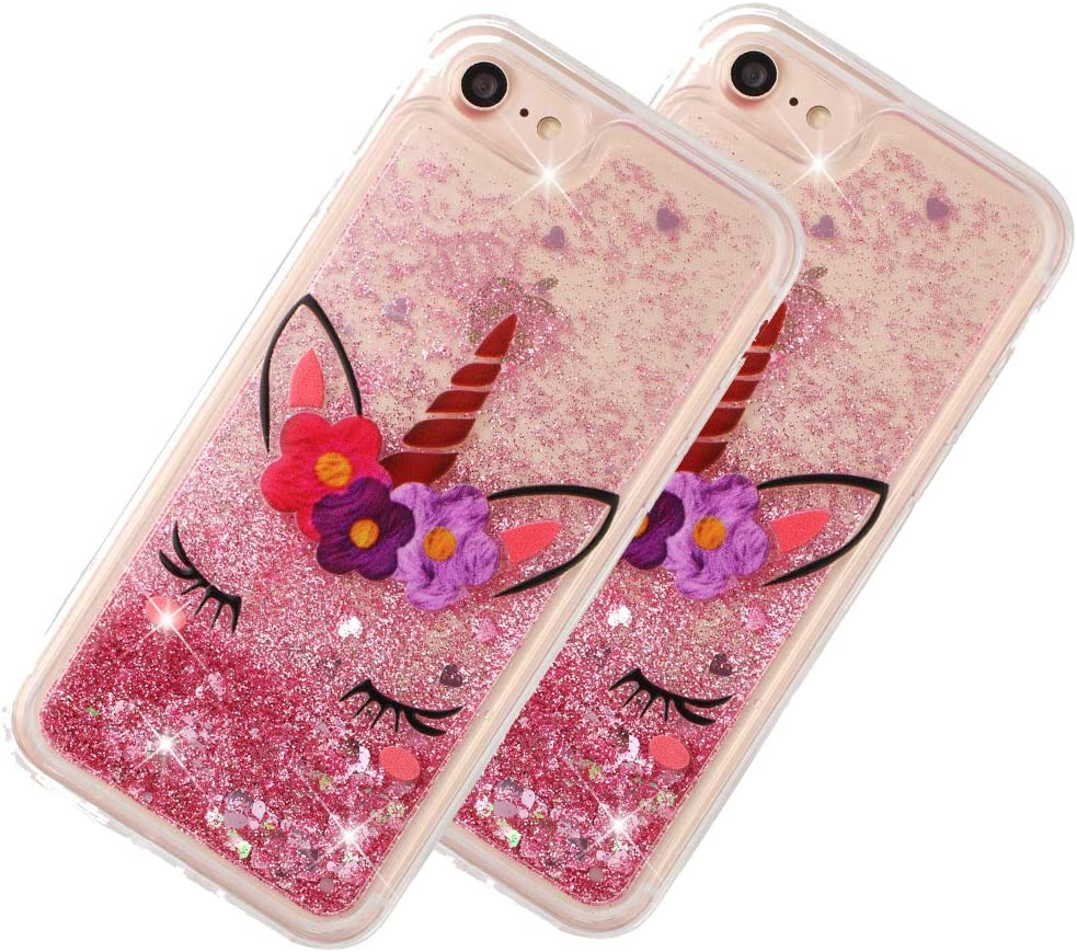 """LEECOCO iPhone 8 Case Dandelion Bling Glitter Liquid Shiny Quicksand Clear Transparent Soft TPU Silicone Shockproof Protection Bumper Cover for iPhone 7"""" 4.7 Inch Unicorn LS XY"""
