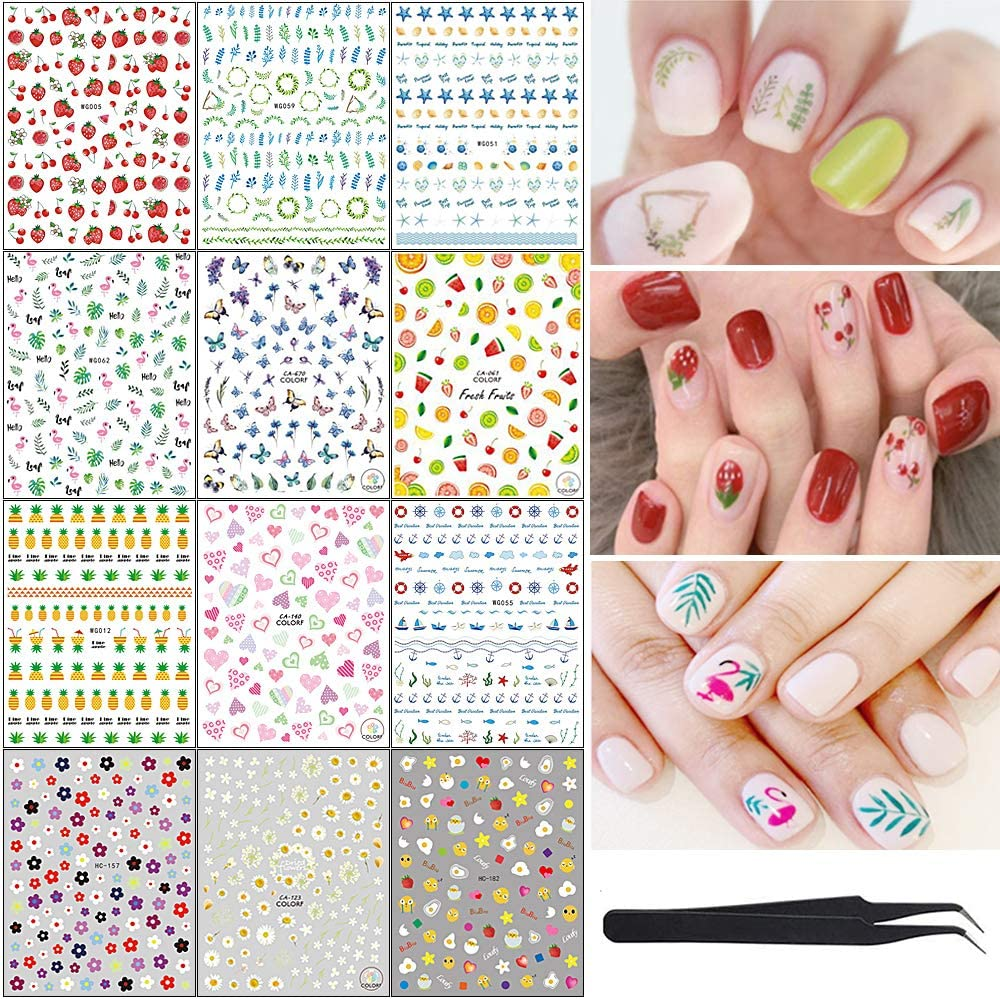 12 Sheets Different Patterns Nail Art Stickers Decals for Women Girls Kids Self Adhesive Cactus avocado sunflower leaves DIY or Nail Salon Gift for Fingernails Decor Manicure Decorations with Tweezers