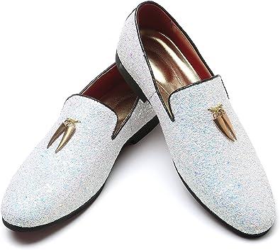 Mens Rhinestone Penny Loafers Slip On Black Tuxedo Wedding Moccasin Noble Dress Shoes Andy J.K