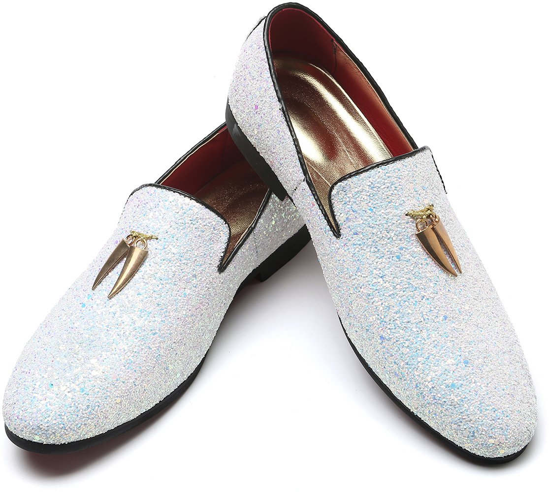 cbc5ca310a7 Men s Modern Glitter Tuxedo Slip-on Loafers Luxury Metallic Sequins  Textured Wedding Prom Dress Shoes (9.5