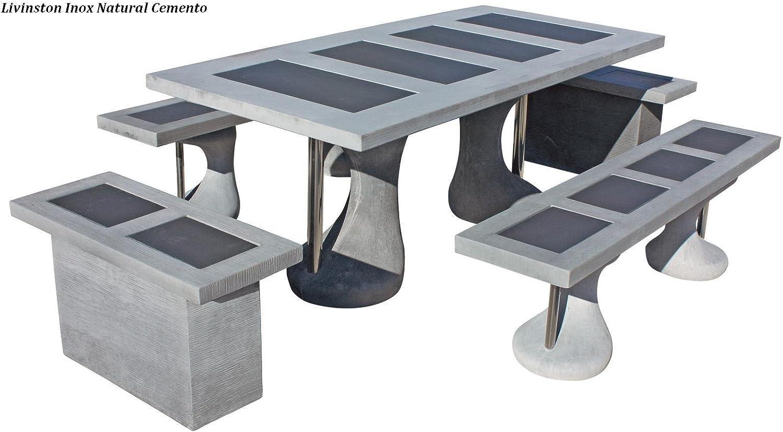 Conjunto Mesa Comedor Jardin DE Piedra Artificial con Fibra. Mesa ...