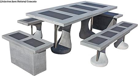 Conjunto Mesa Comedor Jardin DE Piedra Artificial con Fibra. Mesa + 4 BANCOSLIVINSTON INOX Color (Cemento): Amazon.es: Hogar