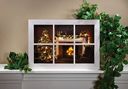 Ohio Wholesale Christmas Window Frame Lighted Canvas 14 X 20
