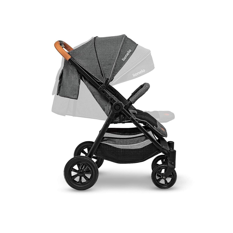 Lionelo Bell Kinderwagen Buggy bis 22 kg Fu/ßabdeckung Moskitonetz XXL Baldachim mit UV-reflektierendem Material verstellbare R/ückenlehne Liegeposition zusammenklappbar Dunkelgrau