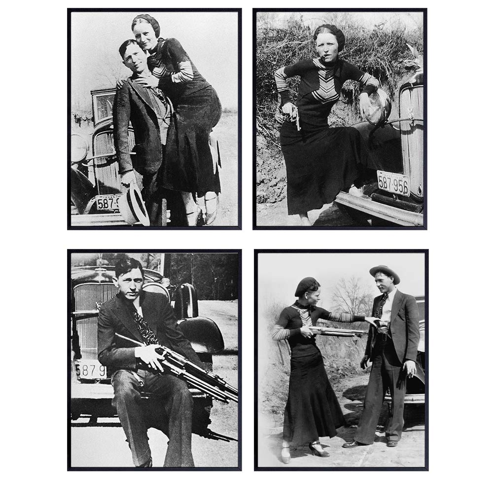 Bonnie and Clyde Vintage Wall Decor Photo Set of 4-8x10 Historic Outlaw, Bank Robber, Gangster Art for Bar, Man Cave, Bedroom, Living Room - Gift for Men, Boys, Teens, Historians, History Fans