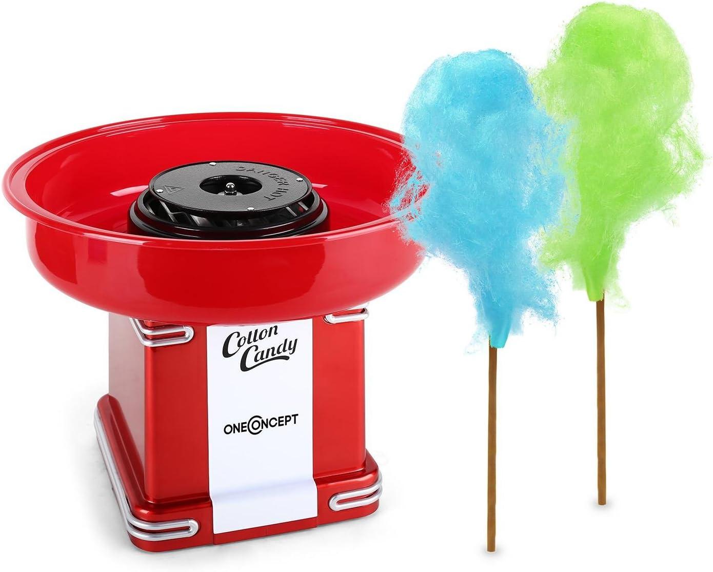 oneConcept Candyland 2 - Máquina de algodón de azúcar, Dispositivo nube dulce, Potencia 500 W, Depósito extraíble, Varilla y dosificador incluidos, Pies antideslizantes, Diseño retro, Rojo: Amazon.es: Hogar