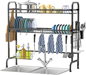 Over The Sink Dish Drying Rack, Veckle 2 Tier Large Stainless Steel Dish Rack Over Sink for Kitchen Countertop with Utensil Holder Hooks Standing Dish Drainer, Black