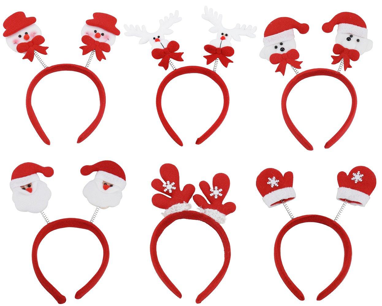 (Paquete de 6) Mujeres Niñas Lindo Diadema de Navidad Decoración de Santa Claus Muñeco de nieve Festival Banda para el Cabello Accesorios para el Cabello Regalo de Navidad EVINIS