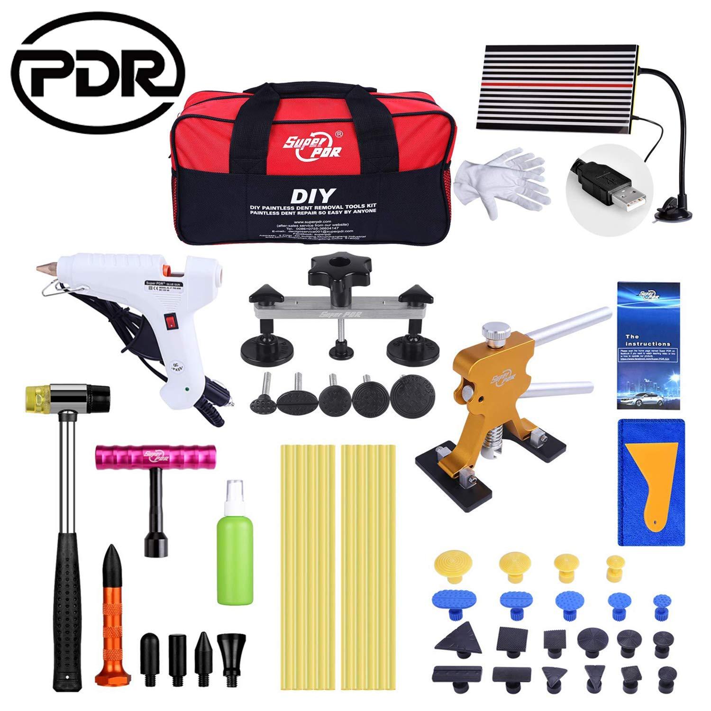 Kit di riparazione per ammaccature, PDR Puller Auto Strumento Riparazione, Pistola per colla a caldo, Bastoncini di colla a caldo(48 PCS)
