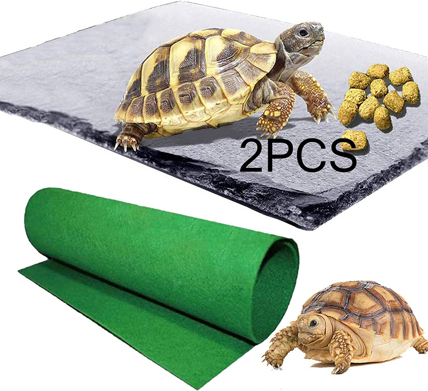 Reptile Basking Platform Tortoise Rock Plate Reptile Carpet Tortoise Feeding Plate Bowl Turtle Bathing Area Feeding Food Dish Resting Terrace for Lizard Bearded Dragon Turtle Crested Gecko Snake 2pcs